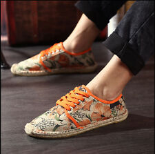 NEW Fashion Men's Casual Weave Floral Canvas Lace Up Loafers Shoes Sneakers Z10