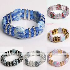 Women Howlite Turquoise Gemstone Crystal Glass Spacer Bead Bracelet Bangle Hot