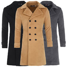 Mens Wool Blends Trench Coat Winter Long Jacket Double Breasted Overcoat Topcoat
