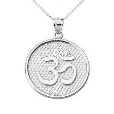 Sterling Silver Om/Ohm Round Pendant Necklace 1.0 mm Box Link Chain Available