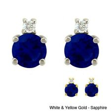 10k Gold Birthstone and Diamond Stud Earrings. Free Delivery
