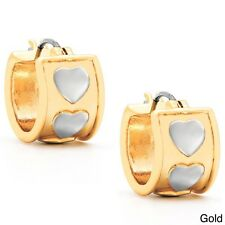 Molly and Emma Fine Plated Silver or 14k Gold Overlay Heart Hoop Earring. Huge S