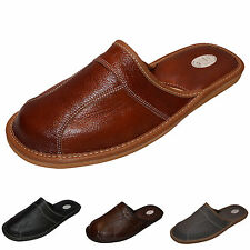 New Mens Genuine Leather Slippers Shoes Mules, Hand Made, Size 6 - 13