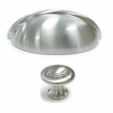 """3""""Brushed Satin Nickel Cabinet Cupboard Door Handles Drawer Pull Knobs Cup Shell"""