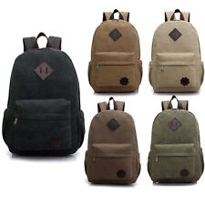 Men's Vintage Canvas Backpack Rucksack Laptop Shoulder Bag Travel Camping Bag 18