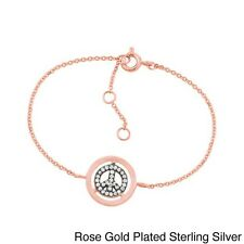 Sterling Silver Cubic Zirconia Peace Sign Bracelet. Best Price