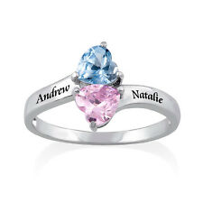 Personalized Birthstone Ring in Sterling Silver, Swarovski Crystals,Gift for Mom