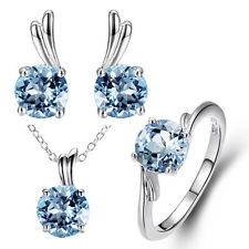 Solid 925 Sterling Silver Sky Blue Topaz Jewelry Set Ring, Earrings & Pendant