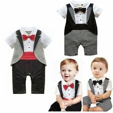 Baby Boy Wedding Formal Party Tuxedo Waistcoat Suit Romper Outfits Clothes 00-2