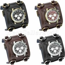 Military Army Mens Cool Wide Leather Band Sports Quartz Analog Wrist Watch Gift