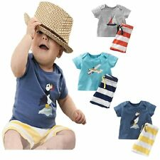 Baby Kids Boy Summer Casual Printed Top+Striped Pant Outfit Clothes Set Age 1-5