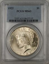 1922 Silver Peace Dollar Coin PCGS MS-63 (BR-28 Q)