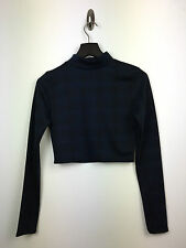 LADIES GIRLS BLUE TARTAN CHECK TURTLE NECK LONG SLEEVE CROP TOP SIZE 8, 12, 14