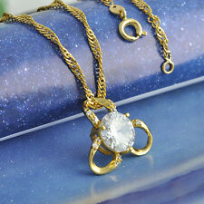 Lovely Womens Flower Yellow Gold Plated Long Necklace&Pendant multicolor Crystal