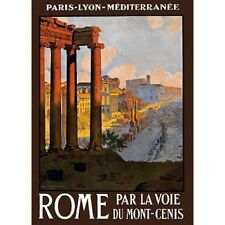 Rome Italy Paris Lyon Mediterranee Travel Advertisement Vintage-Style Poster