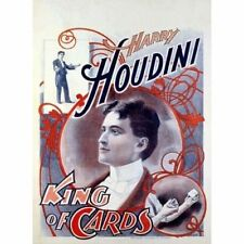 Harry Houdini King Of Cards Magic Magician Vintage-Style Poster
