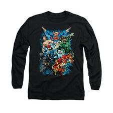 JUSTICE LEAGUE ASSEMBLE Licensed Men's Long Sleeve Graphic Tee Shirt SM-2XL