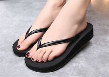 New Woman Bohemian Flip-Flops Slope With Flat Shoes Solid Color Beach Slippers