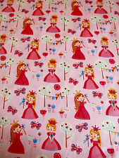 Pink Fairy Princess Fabric 100% Cotton 58inch wide Nursery/Bunting/childrens
