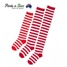 Ladies Red White Striped Womens Cotton Knee High Socks Over the Knee Thigh High