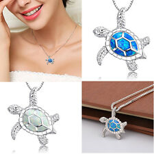 Ocean Sea Turtle Blue Lab Fire Opal Inlay Silver Necklace Pendant Without Chain
