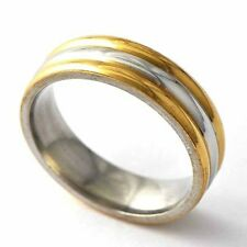 Ripped 18K Gold Plated/White Gold Mens Band Ring SZ 8 9 10 11 12