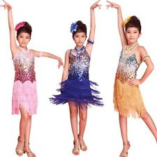 New Girls Latin dance dress Tango Sequin Dance children Fairy Dresses costume