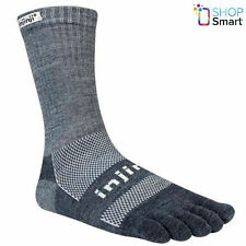 INJINJI FIVEFINGER TOE SOCKS OUTDOOR MERINO WOOL CREW ORIGINAL WEIGHT BLACK GRAY