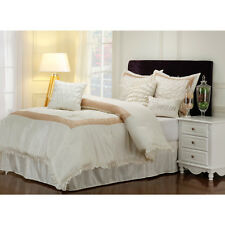 Elegant Off White Jacquard Ruffled Comforter Cal King Queen 7 pcs Set