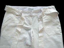 New Womens White NEXT Maternity Linen Crop Trousers Size 12 10 8