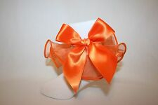 Girls Soft White Nylon Socks with Orange Organza Ruffle and Satin Bow
