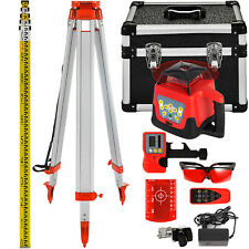ROTARY RED LASER LEVEL+TRIPOD+STAFF EXTERIOR SELF LEVELING LAYOUT TOOL EXCELLENT