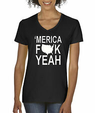 New Way 367 - Women's V-Neck America YEAH American Pride Team USA Patriotic