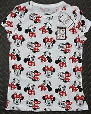 Primark Minnie Mouse T Shirt Disney Womens Ladies White Red UK Sizes 6-20 NEW