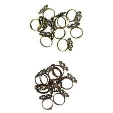 10 Pcs Vintage Adjustable Brass Blank Filigree Flower Ring Base Jewelry Making