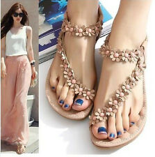 Women Summer Casual Flats Bohemia Flower Floral Beach Sandals Strappy Shoes L10