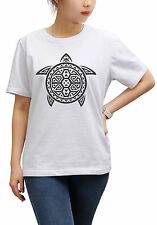 Tribal Turtle Printed Cotton Short Sleeves Loose Top Tee Shirt WTS_17