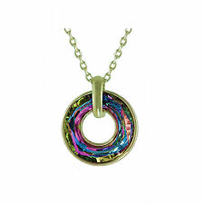 Circle Crystal Vitrail Medium Pendant  Necklace, Made with SWAROVSKI® Crystals.