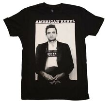 Johnny Cash American Rebel Mugshot Country Rock Music Men's Black Cotton T-Shirt