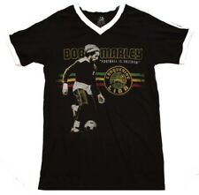 Bob Marley Football is Freedom Soccer Men's Black Cotton V-Neck Jersey T-Shirt