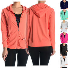 Women Long Sleeve Solid Front Zipper Drawstring Hooded Workout Thin Sweater Top