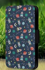 Seamless Outer Space Doodle Pattern Vector Faux Leather Flip Phone Case L542