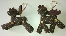 Pair of CHOCOLATE REINDEER fabric CHRISTMAS TREE DECORATIONS polka dot buttons