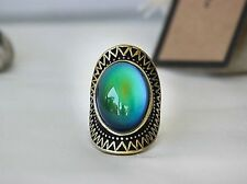 Antique Gold Plating Oval Stone Mood Ring