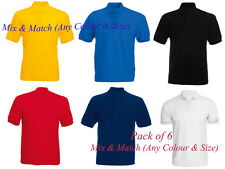 New Mens Boys Polo Plain T Shirt 100% Cotton (Pack of 6 Mix & Match Any Colour)