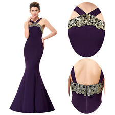 Halter Women Mermaid Long Formal Ball Gown Evening Party Cocktail Prom Dress