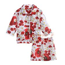 Outfit & Sets Baby Girls Clothing Set Spring Flower Coat and Floral Mini Skirts