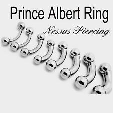 Prince Albert bent bar piercing surgical steel stretch 2mm-10mm PA ring bar