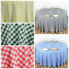 "120"" Checkered Gingham Polyester Round Tablecloth WEDDING PARTY LINENS WHOLESALE"