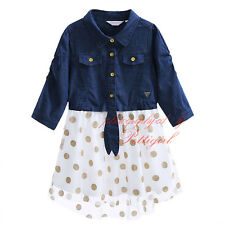 Baby Kids Polka Dots Summer Girls Dress Denim and Tulle Holiday Party Dresses